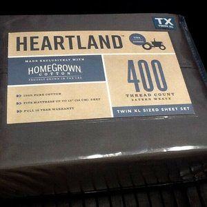 DARK GRAY Heartland 400TC Sateen TWIN XL Sheet Set
